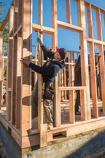 Ricardo nails a wall into place at a residential construction project at Fair Way and Lake Street in Calistoga. (Clark James Mishler)