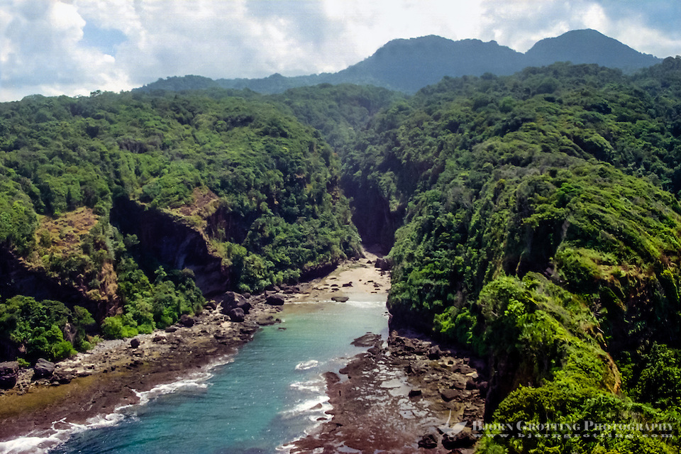 West Nusa Tenggara, Sumbawa. A narrow valley on the south coast of Sumbawa. This terrain is not easily accessible from land (from helicopter). (Bjorn Grotting)