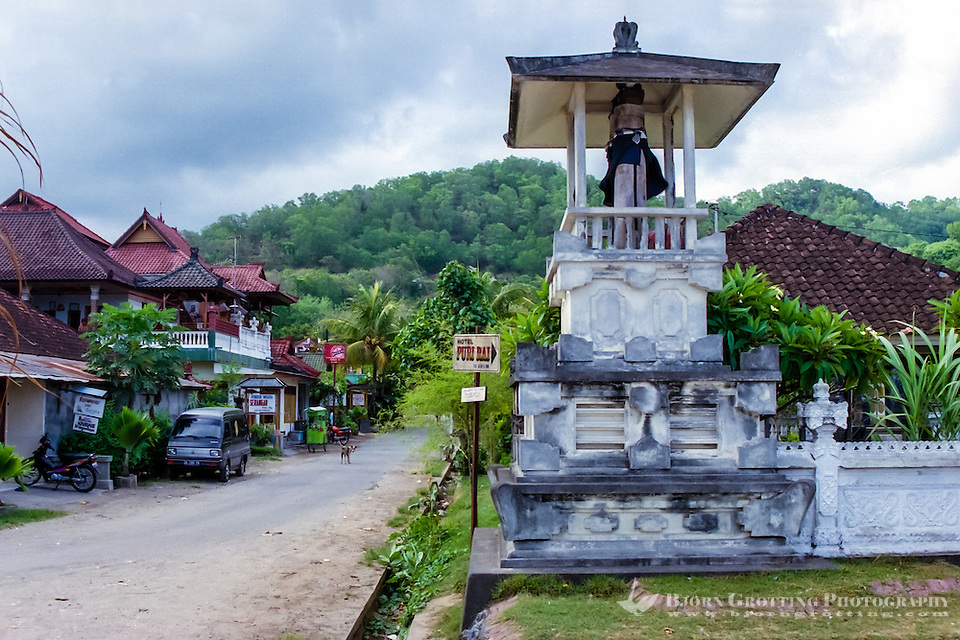 Bali, Karangasem, Padangbai. Most of the restaurants and accommodation are located along the narrow streets by the beach. The city is surrounded by green hills well suited for hiking. (Photo Bjorn Grotting)