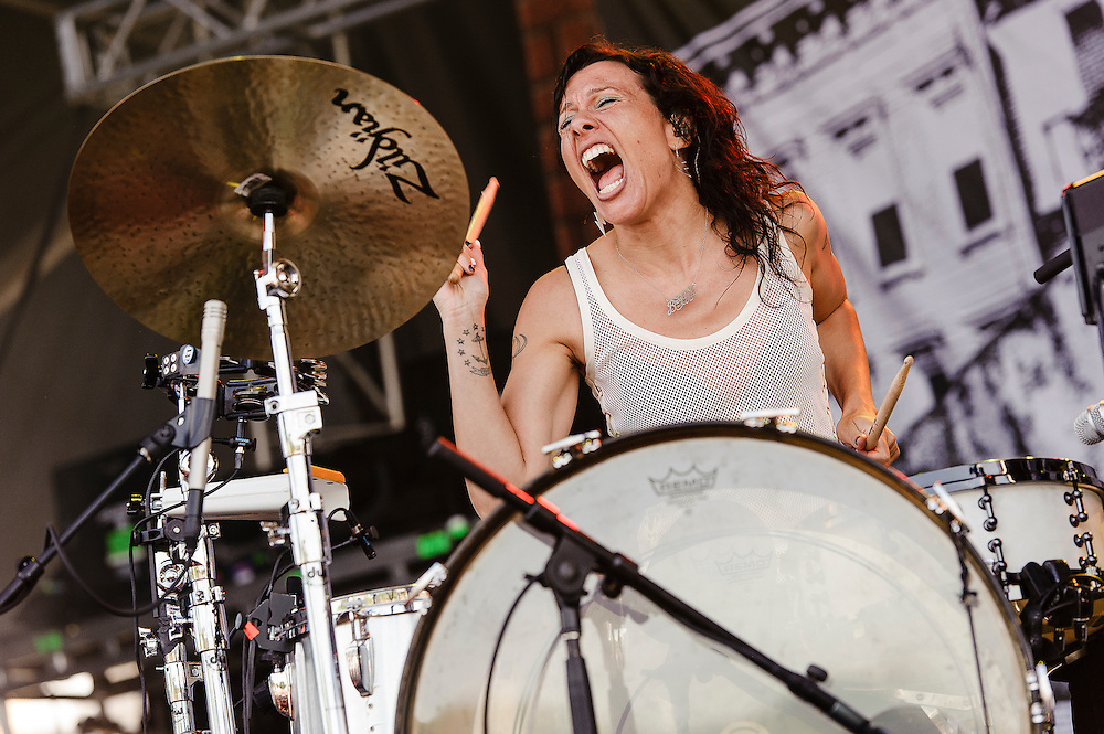 Photos of the band Matt and Kim performing at Catalpa Music Festival on Randall's Island, NYC. July 29, 2012. Copyright © 2012 Matthew Eisman. All Rights Reserved. (Photo by Matthew Eisman/ Getty Images)