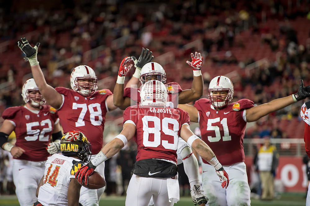 SANTA CLARA, CA - December 30, 2014: The 2014 Foster Farms Bowl: The Stanford Cardinal vs the University of Maryland Terrapins at Levi Stadium in Santa Clara, California. Final score Stanford Cardinal 45, Maryland Terrapins 21. (David Bernal/isiphotos.com)