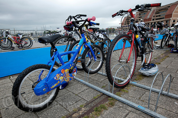 22 MAY 2011 - DUNKERQUE, FRA - Bikes of all types and sizes are used in children&#039;s races such as the Duathlon Avenir at the Triathlon de Dunkerque (PHOTO (C) NIGEL FARROW) (NIGEL FARROW/(C) 2011 NIGEL FARROW)