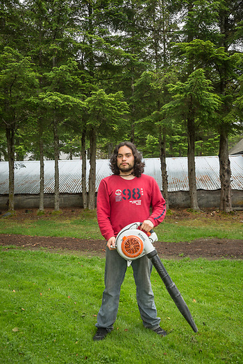 """My first job a year ago was dish washer.  Now I am grounds keeper.""  -Victor Wong photographed during the Sitka Arts and Science Festival in Sitka, Alaska (Clark James Mishler)"