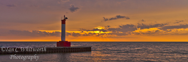 Looking at the lighthouse pier in Oakville at sunrise (Ian C Whitworth)