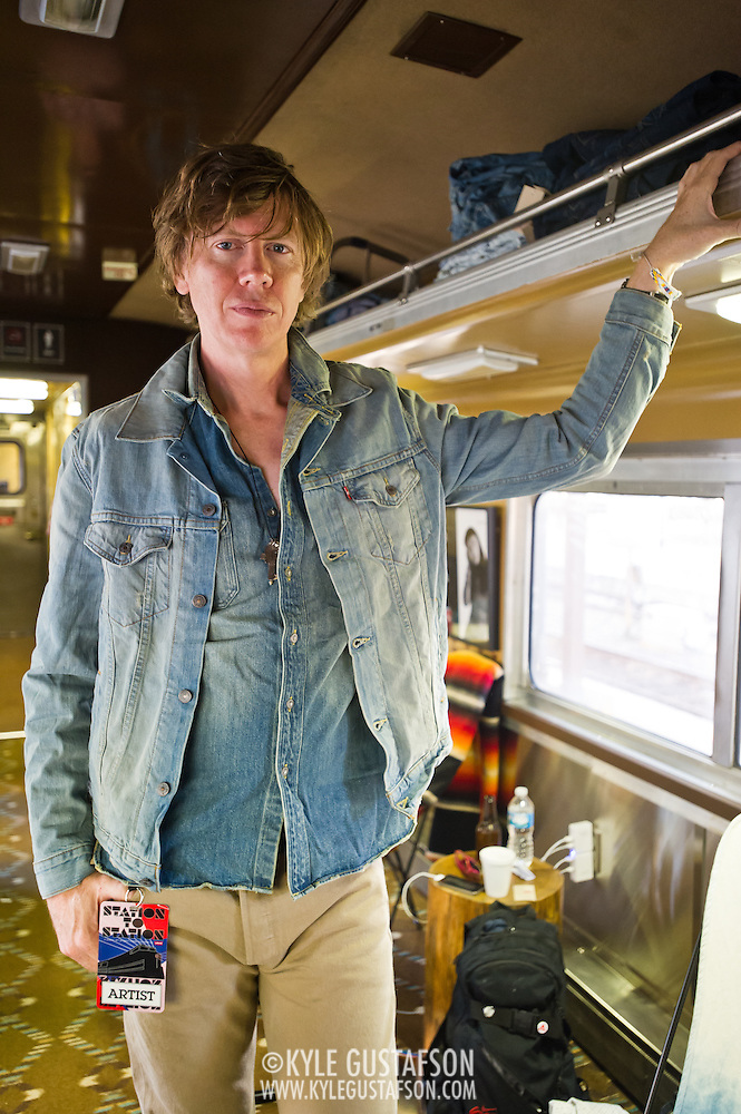 Thurston Moore pose for a quick portrait during the Station to Station tour, an artist-driven public art project made possible by Levi's. (Kyle Gustafson/Photo by Kyle Gustafson)