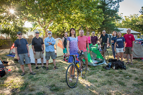 "Suzanne Slivkoff with other participants in the ""Sierra to the Sea"" bicycle ride from Bear Valley to the Golden Gate Bridge, overnight at the Calistoga RV Park. (Clark James Mishler)"