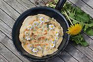 Pfannkuchen mit Gänseblümchen und Löwenzahn, Outdoor, Kräuter, Kräuter-Pfannkuchen, Kräuterpfannkuchen, Ernte (Frank Hecker)