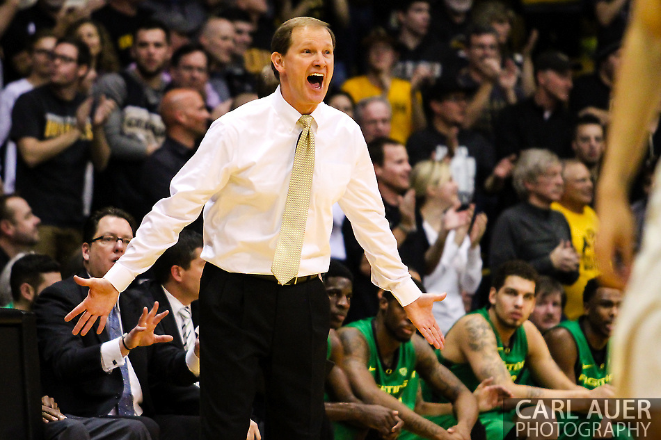 January 5th, 2014:  Oregon Ducks head coach Dana Altman expresses his objection to a call by the officials in the second half of action in the NCAA Basketball game between the Oregon Ducks and the University of Colorado Buffaloes at the Coors Events Center in Boulder, Colorado (Carl Auer/ZUMAPRESS.com)