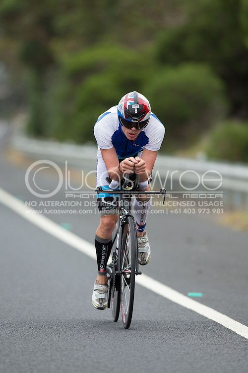 Jimmy Johnson (DEN), March 23, 2014 - Ironman Triathlon : Bike Course. Ironman Melbourne Race, Bike Cycle Course Between Frankston And Ringwood Tunnel, Melbourne, Victoria, Australia. Credit: Lucas Wroe (Lucas Wroe)