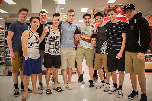 "Rugby team from Coquitlam, B.C. at Target store in Wallnut Creek, CA ""We're shopping for our Moms"" (Clark James Mishler)"