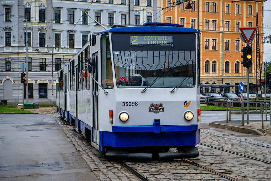 RIGA, LATVIA - CIRCA MAY 2014: Tramway in the streets of Riga (Daniel Korzeniewski)