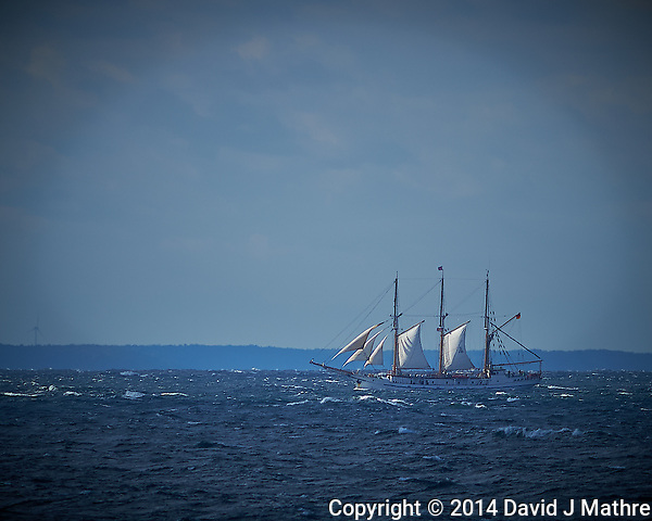 Three Mast Schooner Off the Coast of Poland From the Deck of the MV Explorer.  Image taken with a Nikon Df Camera and 300 mm f/2.8 VR lens (ISO 100, 300 mm, f/4, 1/3200 sec). Raw image processed with Capture One Pro, Focus Magic, and Photoshop CC. (David J Mathre)