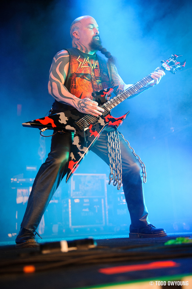 Slayer performing at Mayhem Fest 2012 at Verizon Wireless Amphitheater in St. Louis, Missouri on July 20, 2012. (Todd Owyoung)