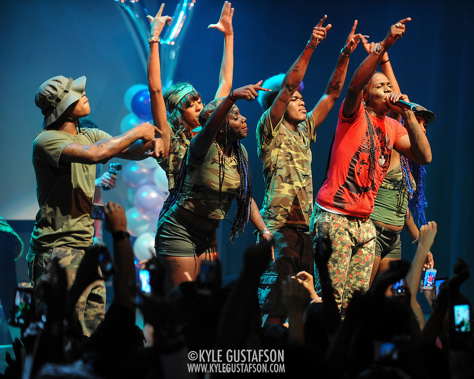 """WASHINGTON, DC - October 2nd, 2014 - Big Freedia (right, with mic) performs at the Howard Theatre in Washington, D.C.  Freedia is credited with bringing New Orleans """"bounce music"""" to the masses. His latest album, Just Be Free, was released in June. (Photo by Kyle Gustafson/For The Washington Post) (Kyle Gustafson/For The Washington Post)"""