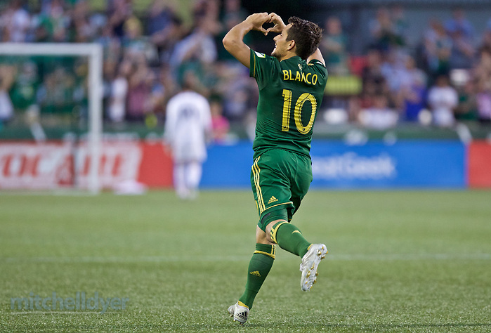 July 5, 2017; Portland, OR, USA; Portland Timbers midfielder Sebastian Blanco (10) reacts after scoring a goal in the second half at Providence Park. Photo: Craig Mitchelldyer-Portland Timbers (Craig Mitchelldyer)