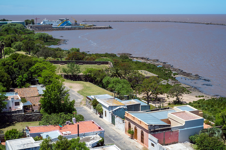 Aerial view of Colonia del Sacramento and the Rio de la Plata River in Uruguay. (Daniel Korzeniewski)