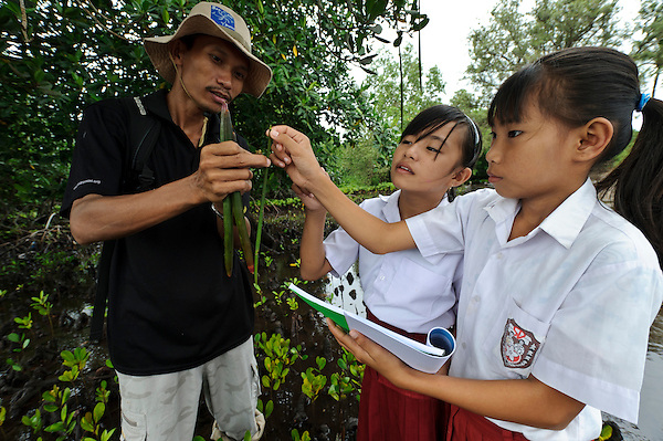 Bapak Juanda Datundugon with children during an environmental education class in a mangrove area, Dudepo, Bolmong Selatan, Sulawesi, Indonesia. (Matthew Oldfield)