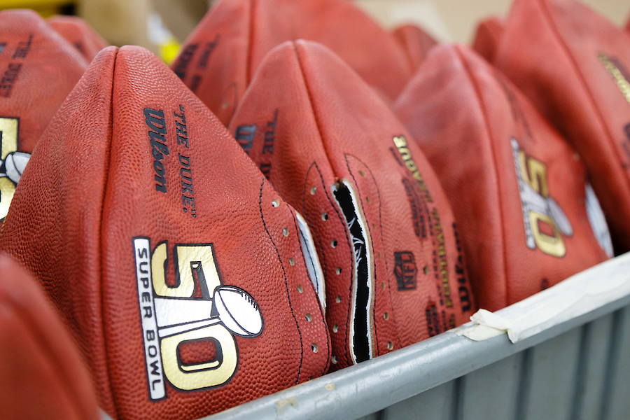 Official balls for the NFL Super Bowl 50 football game wait to be laced at the Wilson Sporting Goods Co. in Ada, Ohio, Tuesday, Jan. 26, 2016. The Denver Broncos will play the Carolina Panthers in the Super Bowl on Feb. 7 in Santa Clara, CA. (AP Photo/Rick Osentoski) (Rick Osentoski/AP)