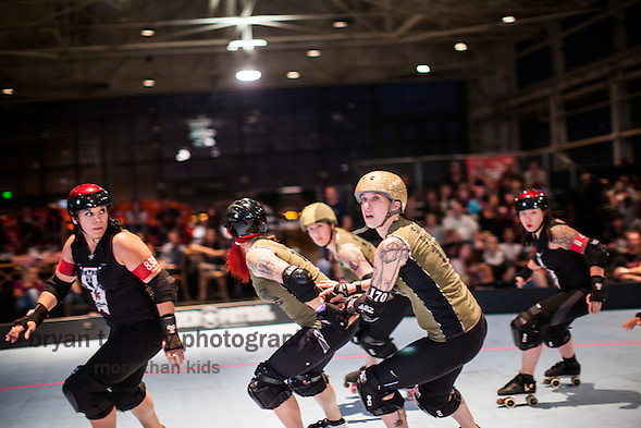 The Oakland Outlaws defeated the San Francisco ShEvil Dead 206-200 during the last doubleheader of the 2013 Bay Area Derby Girls regular season on July 13 at the Craneway Pavilion. The two teams will skate against each other for the 2013 B.A.D. Championship on August 17. (bryan farley)