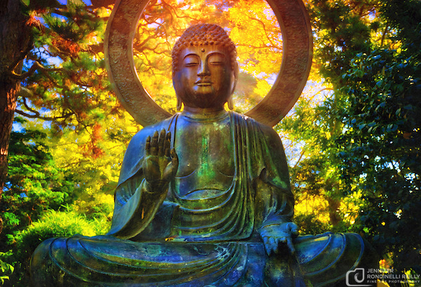 Photo of a giant Buddha in the Japanese Tea Garden at Golden Gate Park in San Francisco, CA. Created in 1894, this five acre tea garden is the oldest in the United States. (Jennifer Rondinelli Reilly)