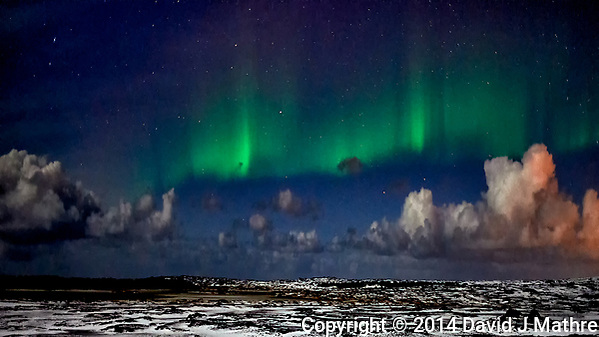Reykjavik Northern Lights. Image taken with a Nikon Df camera and 24 mm f/1.4 lens (ISO 1600, 24 mm, f/1.4, 1 sec). (David J Mathre)