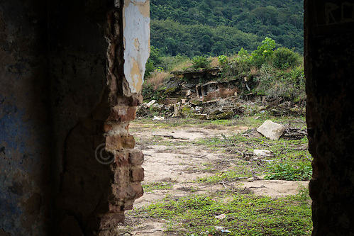 Looking at the demolished accommodation block in the abandoned prison in Dois Rios on the island of Ilha Grande, Brazil. Photo by Andrew Tobin/Tobinators Ltd (Andrew Tobin/Tobinators)