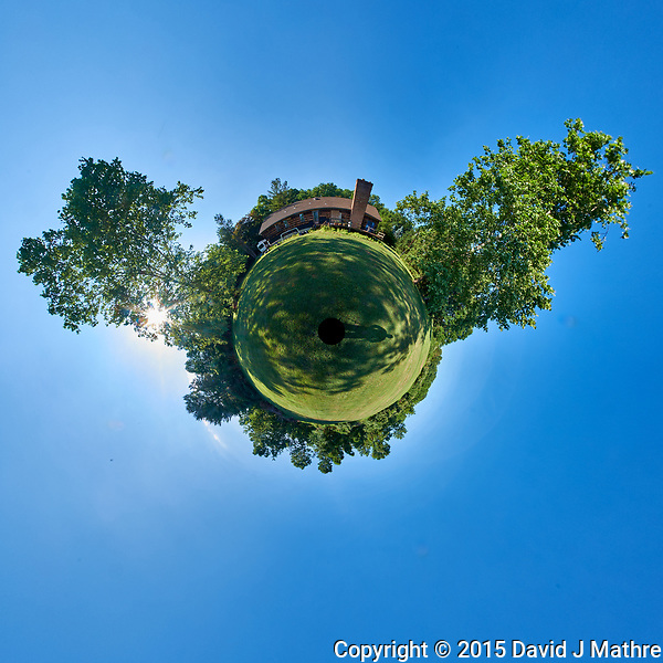 Little Planet View of My Backyard. Composite of 37 images taken with a Fuji X-T1 camera and Bower 8 mm f/2.8 fisheye lens (ISO 200, 8 mm, f/16, 1/30 sec). Raw images processed with Capture One Pro and AutoPano Giga Pro. (David J Mathre)