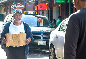 Panhandler on Bourbon Street in New Orleans