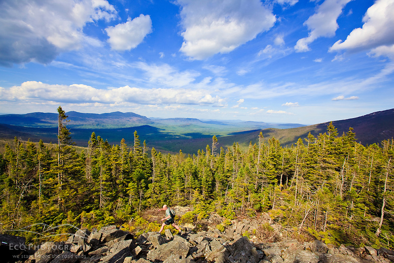 A man hikes the Appalachian Trail on Crocker Mountain in Stratton, Maine. (Jerry and Marcy Monkman)