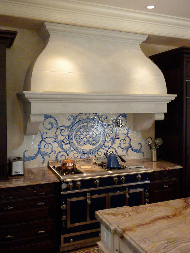 Custom Acanthus kitchen backsplash in Quartz, Lapis Lazuli, Blue Spinel, Mica glass (New Ravenna Mosaics)