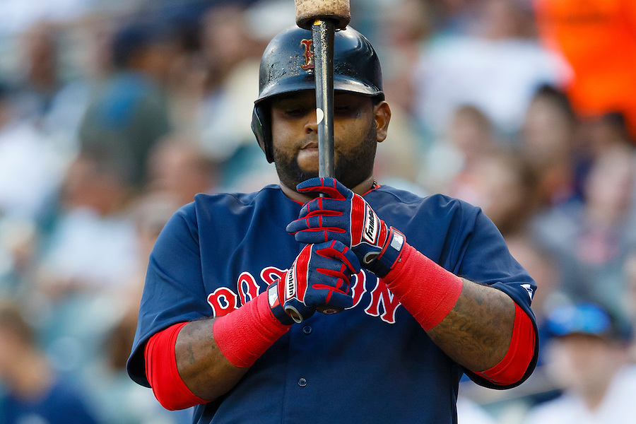 Aug 7, 2015; Detroit, MI, USA; Boston Red Sox third baseman Pablo Sandoval (48) gets set to bat in the first inning against the Detroit Tigers at Comerica Park. Mandatory Credit: Rick Osentoski-USA TODAY Sports (Rick Osentoski/Rick Osentoski-USA TODAY Sports)