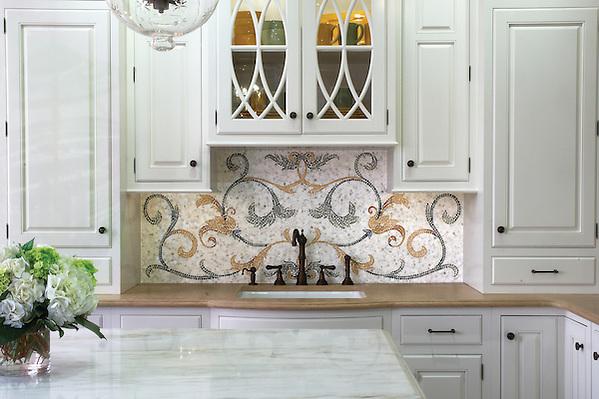 Tamsin custom mosaic kitchen backsplash in Calacatta Tia, Verde Luna, Verde Alpi, Giallo Reale, Renaissance Bronze, Rosa Verona, Spring Green, Blue Macauba, Blue Bahia (New Ravenna Mosaics)
