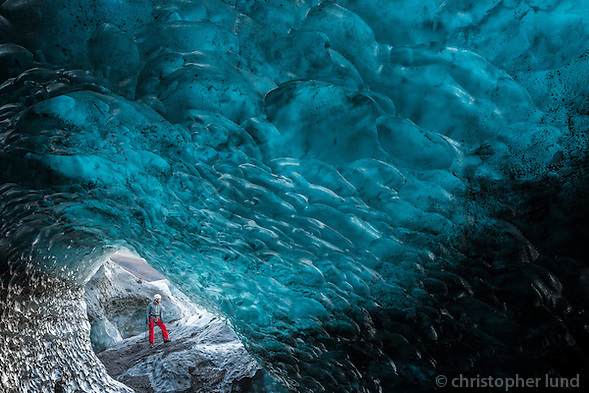 Einar Rúnar Sigurðsson, Mountain Guide by the entrance of an Ice Cave in Svínafellsjökull Outlet Glacier.d (Christopher Lund/©2013 Christopher Lund)