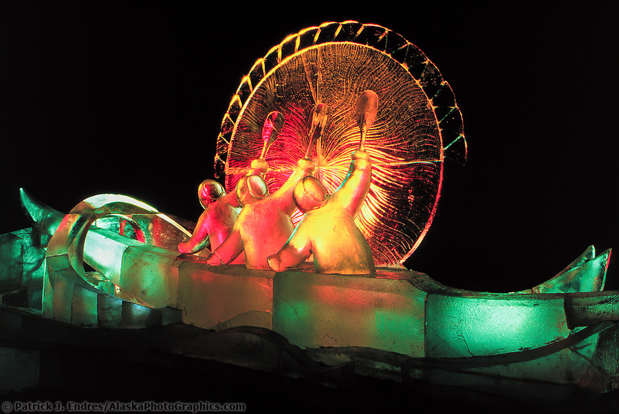 Ice sculpting photos: Good Omen, the title of this award winning Ice Sculpture lit by colored lights, Fairbanks, Alaska. (Patrick J. Endres / AlaskaPhotoGraphics.com)