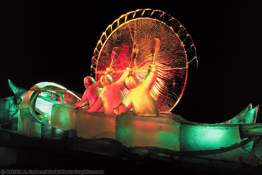 Ice sculpting photos: Good Omen, the title of this award winning Ice Sculpture lit by colored lights, Fairbanks, Alaska. (Patrick J. Endres / AlaskaPhotoGraphics.com)
