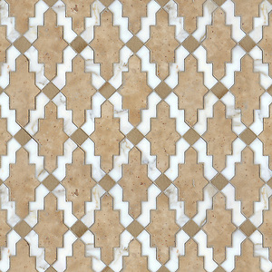 Navarra, a natural stone and ceramic waterjet mosaic shown in Fireclay Spanish Moss, Lavigne honed and Calacatta Tia polished, is part of the Miraflores Collection by Paul Schatz for New Ravenna Mosaics. CB1315PS (Sara Baldwin)