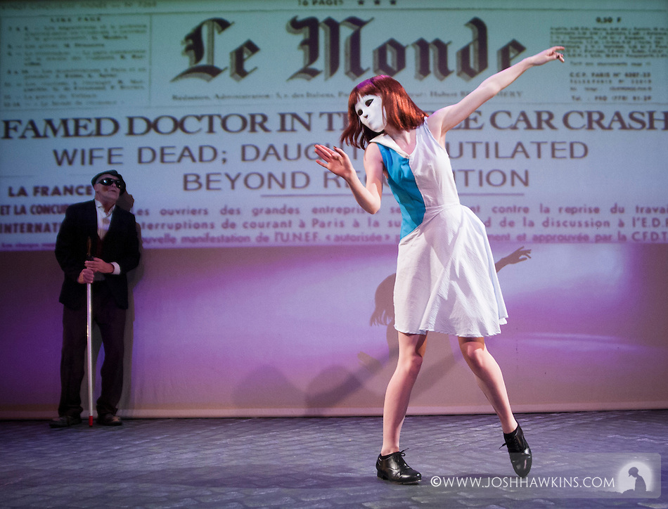 """Eyes Without a Face"", a tap dance thriller inspired by the french film ""Les Yeux San Visage"" featuring live narration by Marc Kelly Smith and an original score by Andrew Edwards at Stage 773 in Chicago, by Chicago Tap Theatre.. (Josh Hawkins)"