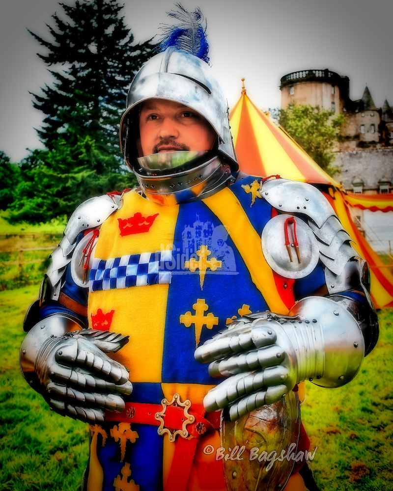 Castle Fraser is the scene of annual re-enactments of jousting tournaments. This is taken very seriously indeed by the participants who ensure their equipment is authentic. Copyright Bill Bagshaw photographers, www.dsider.co.uk whats on Castle Fraser guide (Bill Bagshaw & Martin Williams/Bill Bagshaw, www.dsider.co.uk)