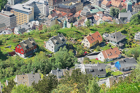 BERGEN, NORWAY - JUNE 06, 2010: View to the buildings of Bergen from Floyen hill in Bergen, Norway. (Dmitry Chulov)