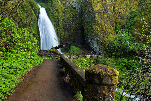 Wahkeena Falls and footbridge, Columbia River Gorge National Scenic Area, Oregon, USA (Brad Mitchell)