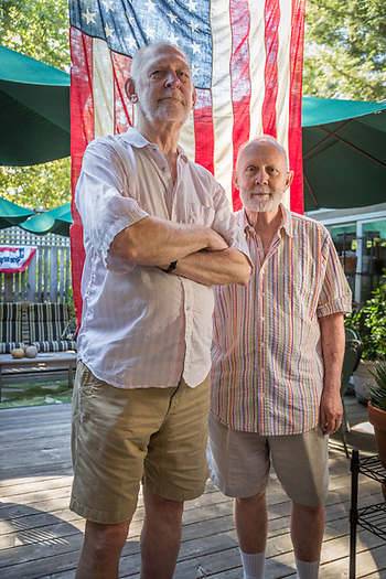 """We love the Fourth of July.  Years ago we started the Myrtle Street Deadenders Marching Kazoo Band and we marched in Calistoga's parade.  We did that until we couldn't march any more.""  - Jack Ramsey and Chris Zinn prepare for Fourth of July at their home on Myrtle Street in Calistoga (Clark James Mishler)"