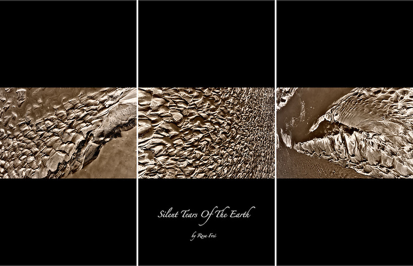 A fine art abstract triptych picture of dry desert earth. (Rosa Frei)