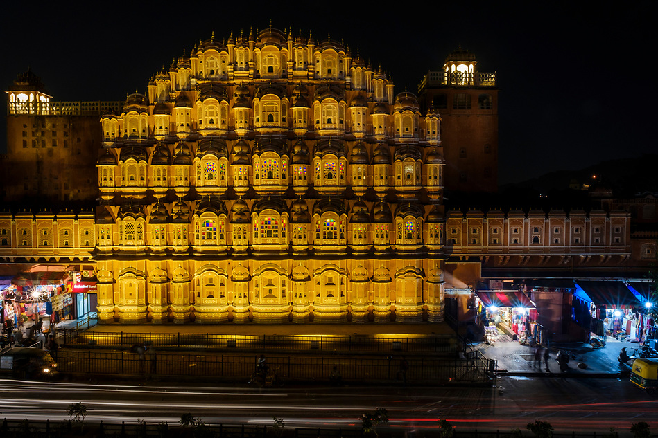 JAIPUR, INDIA - CIRCA NOVEMBER 2016: Hawa Mahal also known as the Palace of the Winds Jaipur, the Pink City at night. The Palace is a very popular torist attraction. (Daniel Korzeniewski)