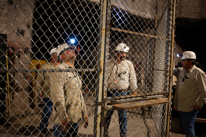 Workers install a new secure equipment gate 2150 ft underground inside The Waste Isolation Pilot Plant in Eddy County. WIPP received $172 million as part of the Recovery and Reinvestment Act accelerate nuclear waste cleanup. (Steven St. John)