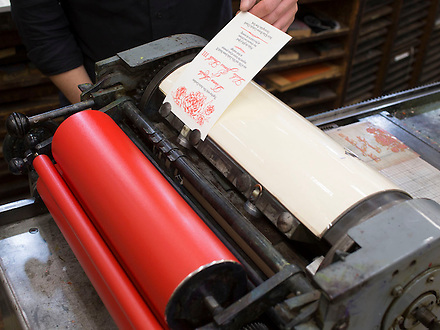 Leslie J Smith III printing his wedding invitations the Type Shop and the Univerity of Wisconsin-Madison. (Photograph by Jim Escalante/Photography by Jim Escalante)