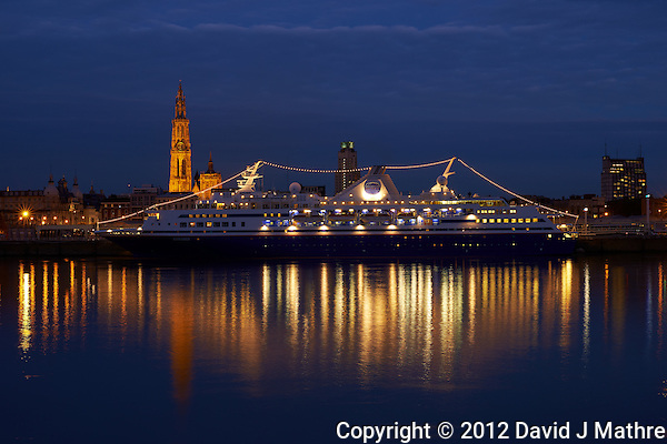 M/V Explorer Docked in Antwerp, Belgium. From Across the Schelde River. Image taken with a Nikon D800 and 50 mm f/1.4 lens (ISO 100, 50 mm, f/11, 4 sec). Semester at Sea Fall 2012 Semester. (David J Mathre)