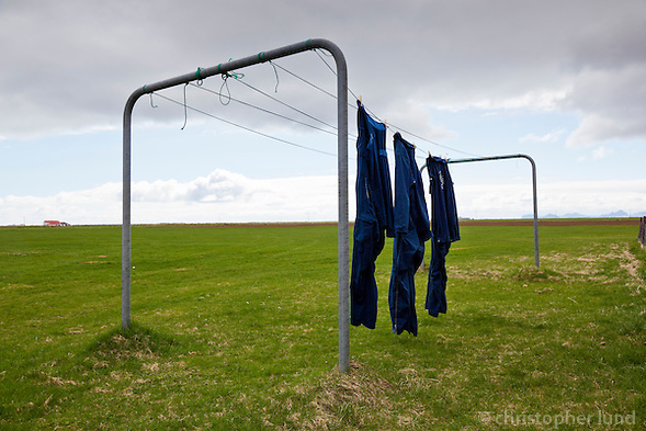 Blue Overalls hanging out to dry outside a farm in South Iceland. (Christopher Lund/©2011 Christopher Lund)