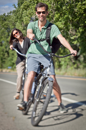 Filepe Alejandre and his wife, Anna, bicycling near Calistoga, CA. (Clark James Mishler)