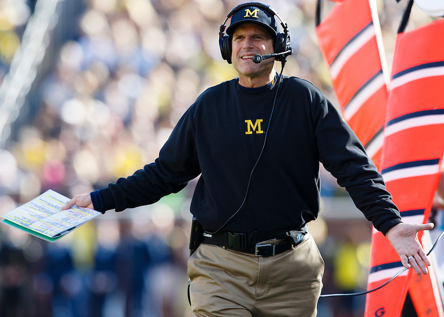Oct 10, 2015; Ann Arbor, MI, USA; Michigan Wolverines head coach Jim Harbaugh reacts on the sideline in the first quarter against the Northwestern Wildcats at Michigan Stadium. Mandatory Credit: Rick Osentoski-USA TODAY Sports (Rick Osentoski/Rick Osentoski-USA TODAY Sports)