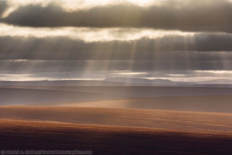 Rays of sun fall over the undulating tundra landscape of the Seward peninsula, Alaska. (Patrick J Endres / AlaskaPhotoGraphics.com)